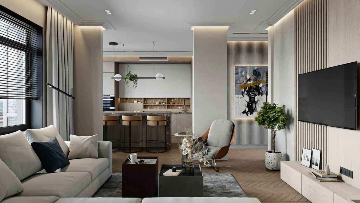 2021现代简约客厅装修设计 2021现代简约吊顶图片
