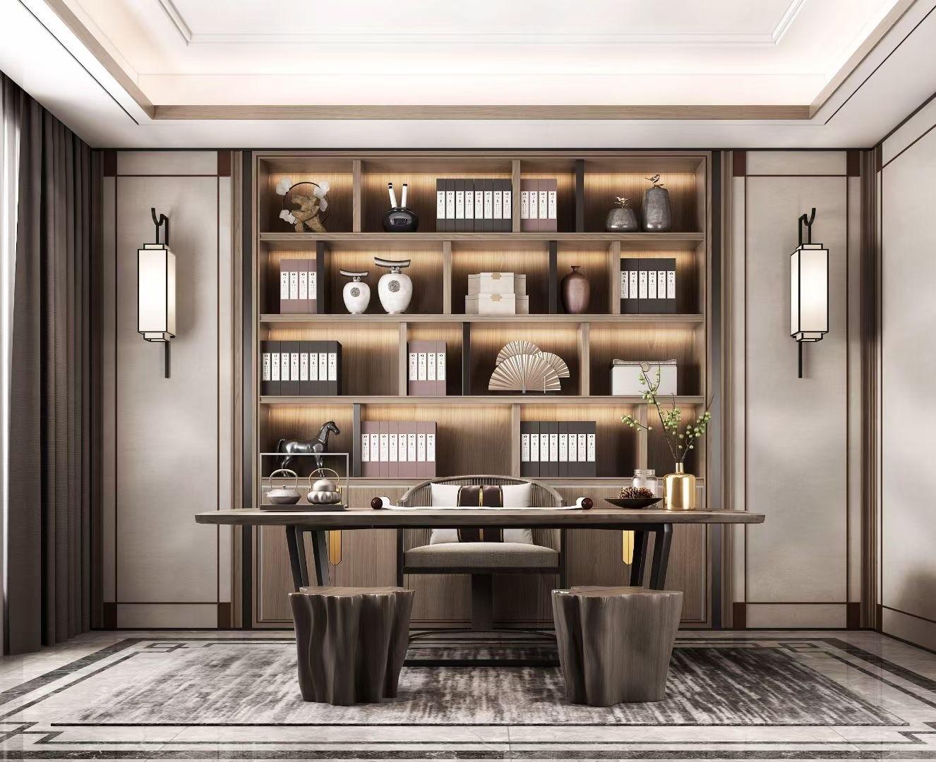 2021新中式客厅装修设计 2021新中式博古架装修图片