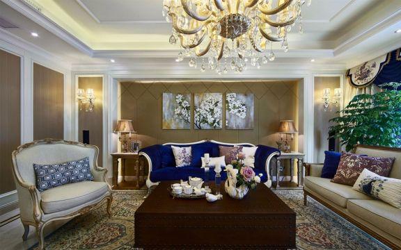 玉兰广场148平美式风格三居室装修效果图