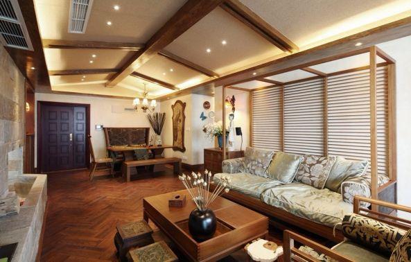 炜岸城86平东南亚风格二居室装修效果图