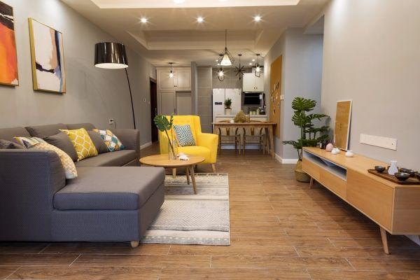 重慶金湖灣三居室75平北歐風格裝修實景圖