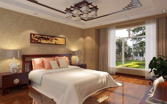 卧室落地窗新中式风格装潢图片