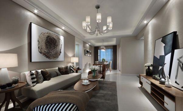 财信时光里现代风格110平米三居室装修效果图