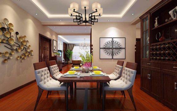 丰泽园110平米现代中式风格家装效果图