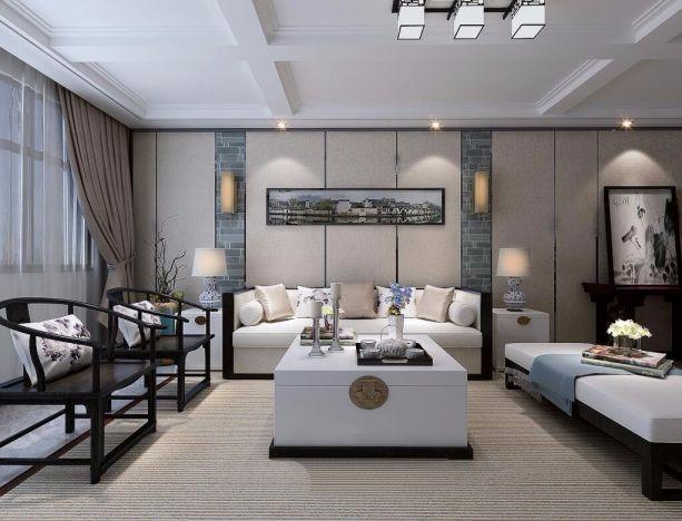 新晋府150平米三室两厅新中式风格装修效果图
