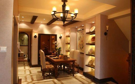 餐厅黄色餐桌美式风格装饰设计图片