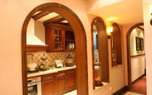 厨房黄色走廊美式风格装饰效果图
