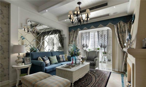 客厅彩色背景墙地中海风格装修设计图片