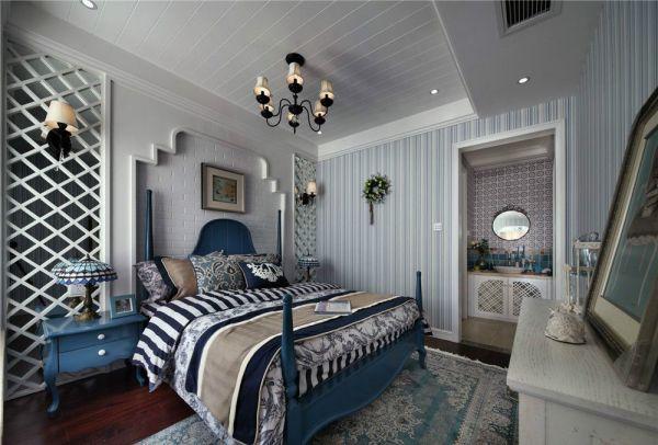 卧室彩色床地中海风格装潢设计图片
