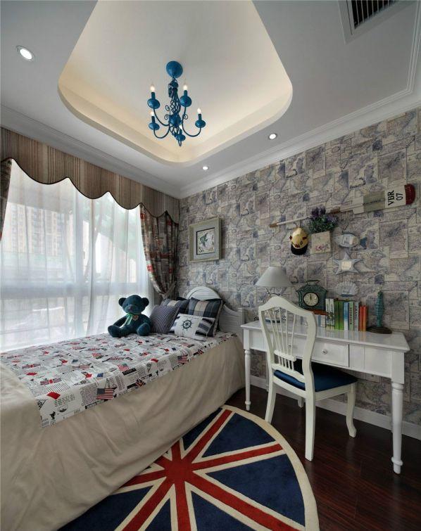 卧室彩色床地中海风格效果图