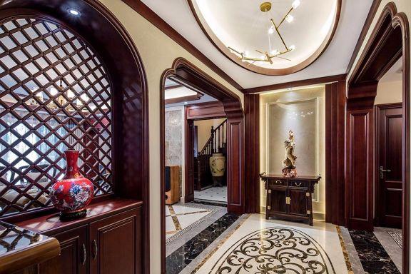 玄关咖啡色门厅新中式风格装修效果图