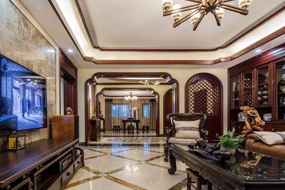 客厅咖啡色沙发新中式风格装潢效果图