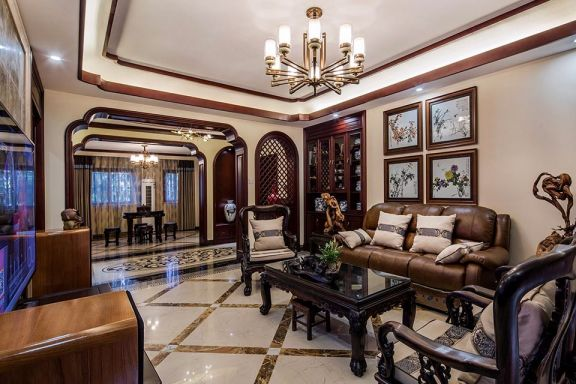 客厅咖啡色沙发新中式风格装饰图片