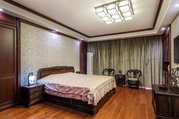 卧室咖啡色窗帘新中式风格装饰设计图片