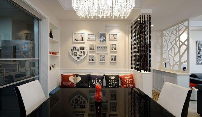 餐厅白色照片墙现代简约风格装潢设计图片