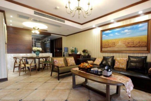 融信白宫三室两厅80平东南亚风格三居室装修效果图