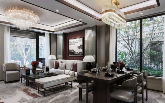 仁恒翠竹园现代中式风格150平方复式楼装修效果图