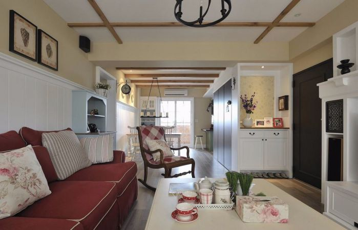 客厅白色背景墙田园风格装修图片