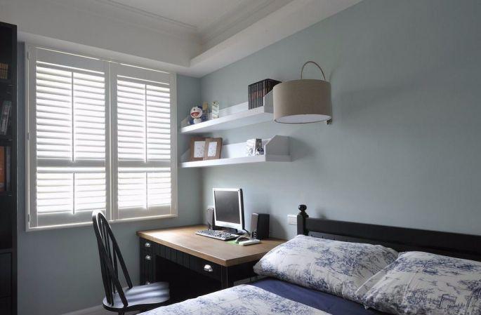 卧室蓝色床田园风格装潢设计图片