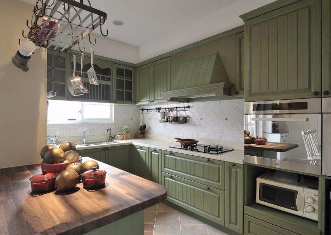 厨房绿色厨房岛台田园风格效果图