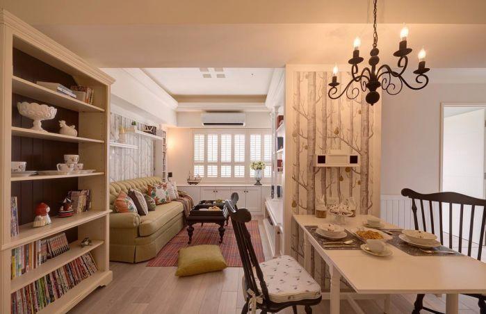 客厅白色背景墙简约风格装潢效果图