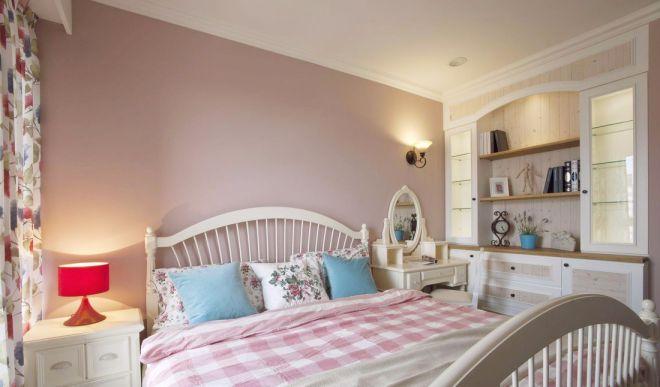 卧室粉色床乡村风格装修图片