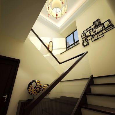 客厅米色楼梯中式风格装饰设计图片