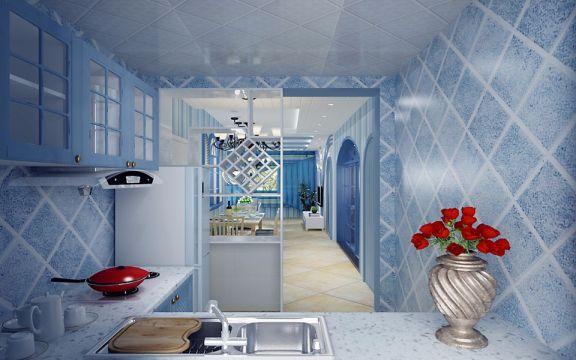 厨房灰色橱柜地中海风格装潢设计图片