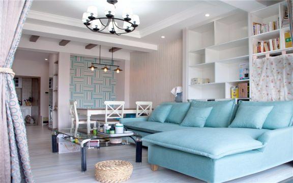 客厅灰色窗帘现代风格装修设计图片