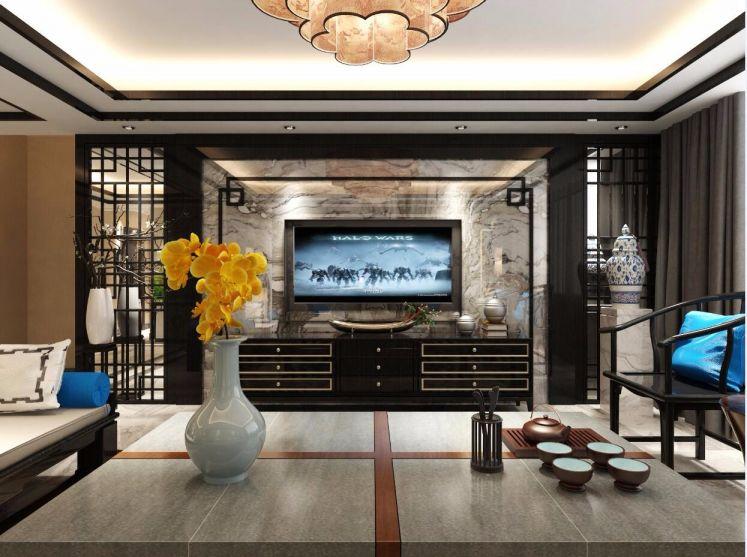 客厅灰色电视柜新中式风格装潢设计图片
