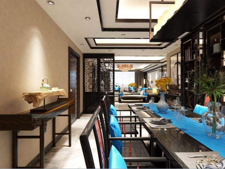 餐厅灰色餐桌新中式风格效果图