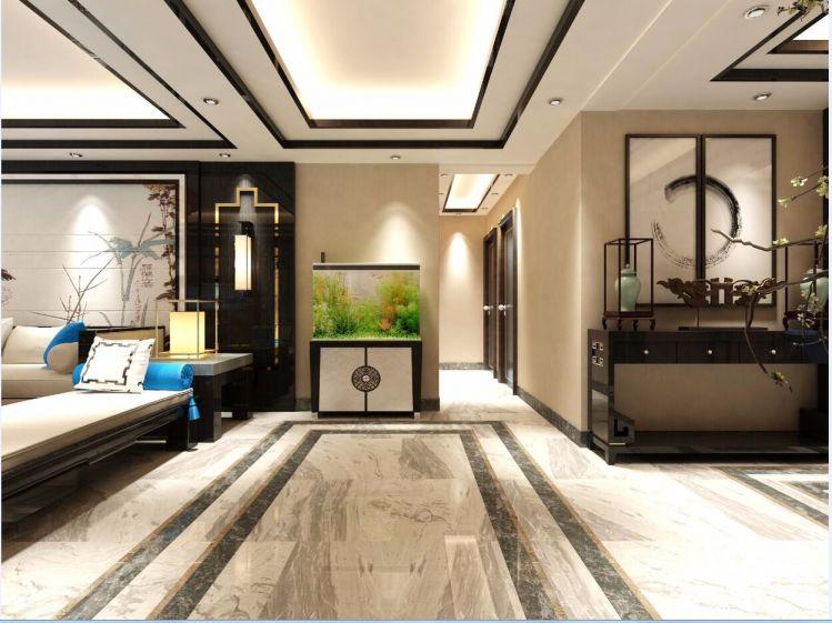 客厅咖啡色走廊新中式风格装修效果图