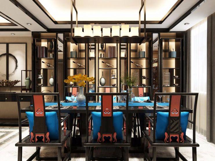 餐厅灰色餐桌新中式风格装饰效果图