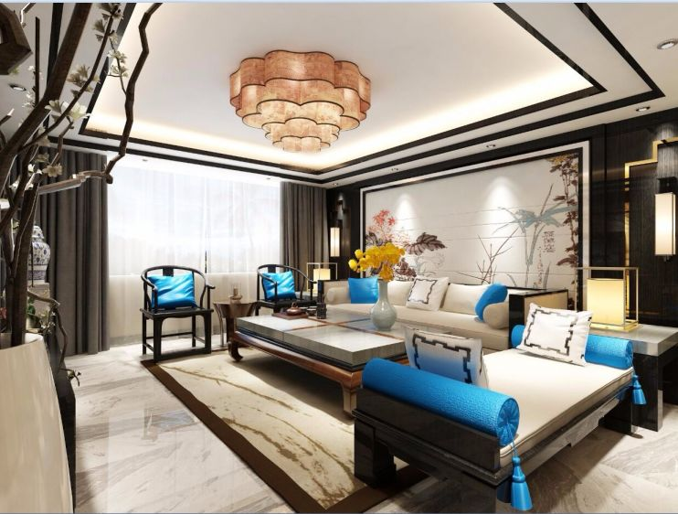 客厅蓝色背景墙新中式风格装潢效果图