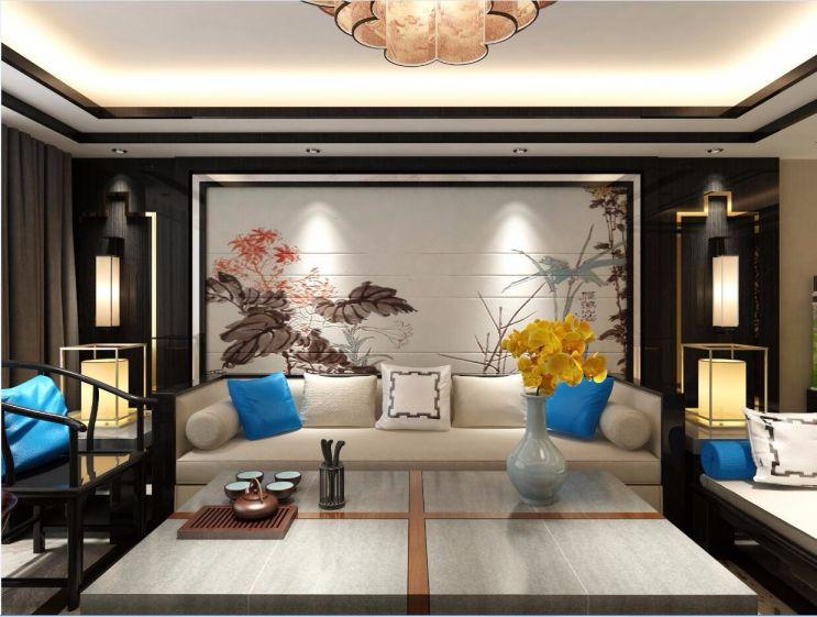 客厅米色背景墙新中式风格装修图片