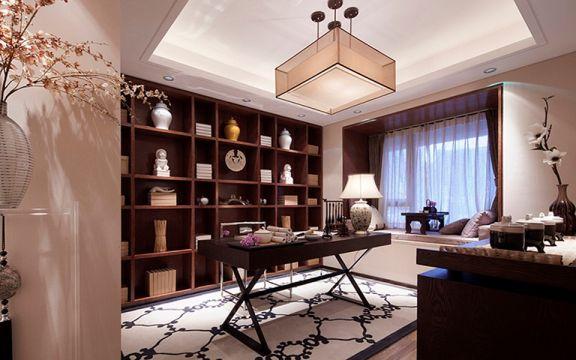 书房书架中式风格装潢设计图片