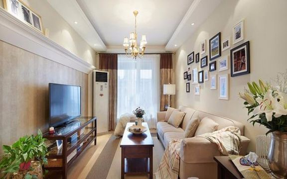 中港罗兰小镇90平米美式风格两居装修效果图