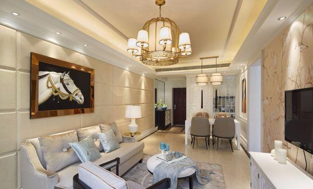 京冠御园华府89平简欧风格两室一厅一厨一卫装修效果图