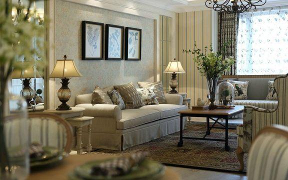 客厅沙发欧式田园风格装潢效果图