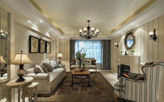 客厅背景墙欧式田园风格装修图片