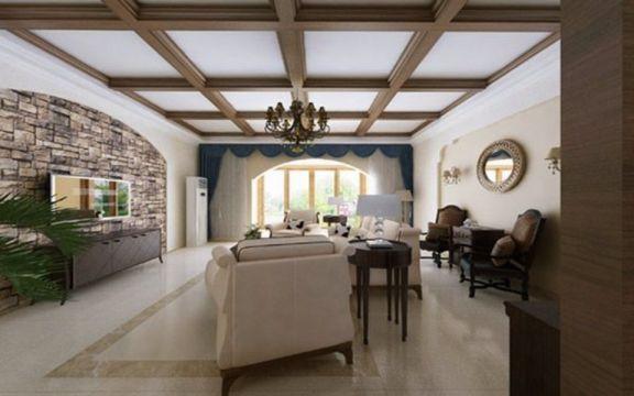 客厅吊顶美式风格装潢图片
