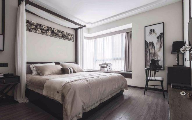 新中式风格110平米三居室装修效果图