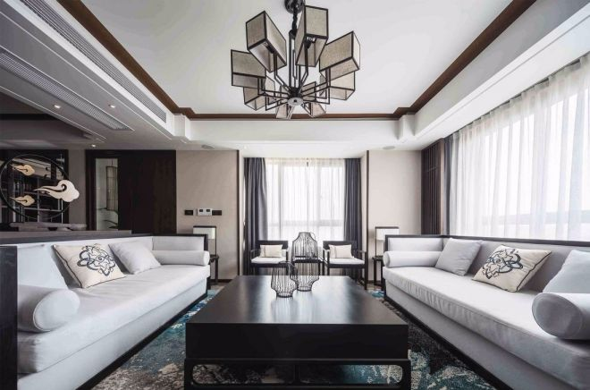 客厅沙发现代中式风格装潢设计图片