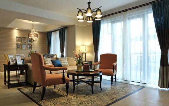 紫廷名苑133平美式风格三居室装修效果图