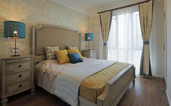 卧室床美式风格装修设计图片