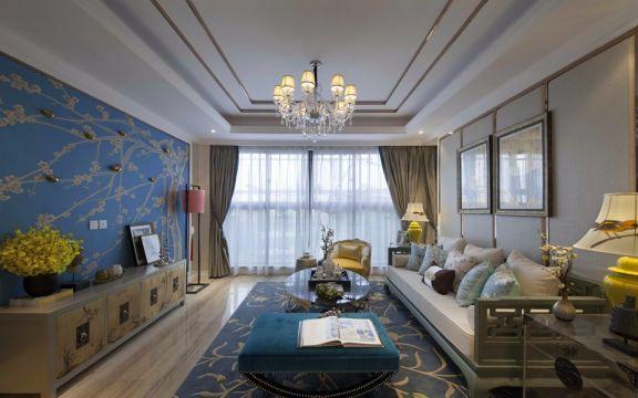 金域丹堤134平混搭风格三居室装修效果图