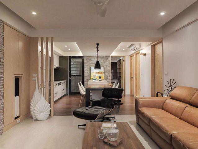 重庆天地简约风格98平三居室装修效果图