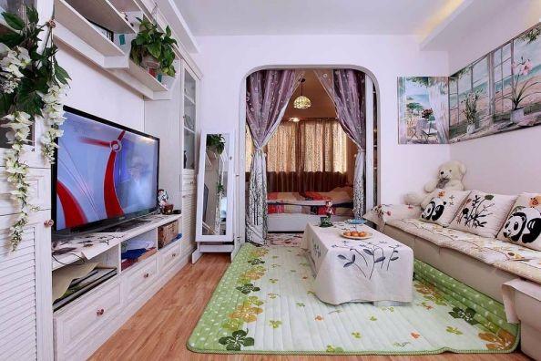 60平米小户型田园风格一居室装修效果图