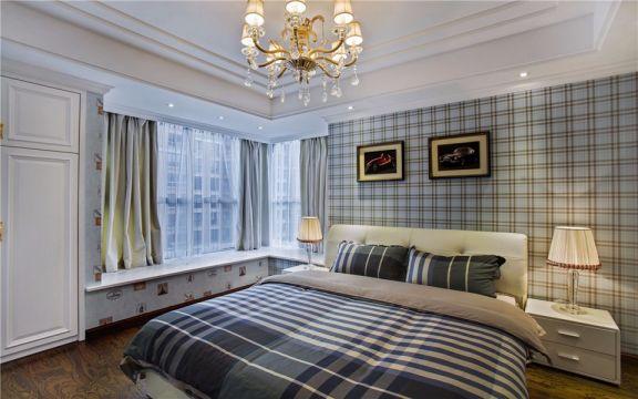 卧室彩色背景墙欧式风格装修效果图