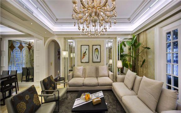 客厅米色背景墙欧式风格装修图片